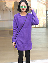 Women's Solid Purple Dress , Vintage Long Sleeve