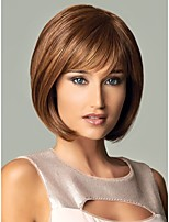 New Short Brown Mix With Side Bang Straigt Party Women Full Wig