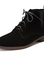 Women's Shoes Suede Low Heel Bootie / Round Toe / Closed Toe Boots Dress / Casual Black / Brown / Gray