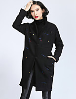 Women's Print Black / Gray Trench Coat , Casual / Plus Sizes Long Sleeve Tweed / Polyester / Wool Blends