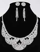 Women's Wedding Jewelry Set 2 Pairs of Earrings Stud One Crystal Necklace