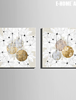 E-HOME® Stretched Canvas Art Christmas Decorations Christmas Series Decoration Painting  Set of 2