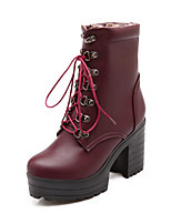 Women's Shoes Leatherette Platform Combat Boots Boots Casual Black / Blue / Burgundy