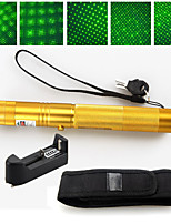 2 IN 1 532nm Green Laser Pointer High Power 5mw Rechargeable 18650+ Holster Gold