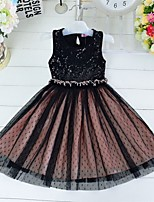 Girl's Black Dress , Dresswear Cotton / Mesh Summer