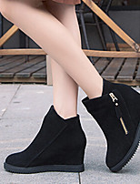 Women's Shoes New Arrival Zipper Frosted Wedge Heel Round Toe Boots Dress / Casual Black / Gray / Burgundy