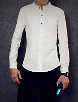 Men's Long Sleeve Shirt  Cotton Casual  Work Pure