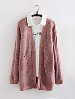 Women's Solid Pink Cardigan , Casual Long Sleeve