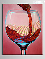 E-HOME® Stretched Canvas Art Red Wine And Red Wine Cup Decoration Painting  One Pcs