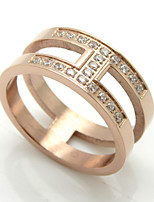Fashion 'H' Shape Titanium Steel Rings 18K Gold Brand Design Cubic Zircon Jewelry For Women