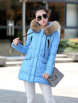 Women's Solid Blue / Red / Black / Gray Down Coat , Casual / Plus Sizes Hooded Long Sleeve
