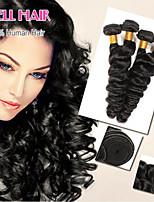 péruvien extensions de cheveux 4 faisceaux 6a de grade cheveux vierge péruvienne vague lâche cheveux remy