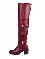 Women's Shoes Leatherette Chunky Heel Round Toe Boots Casual Black / Brown / Red