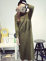 Women's Solid Round Neck Loose Hin Thin  Dress , Casual Long Sleeve