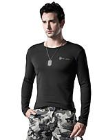 Men's Long Sleeve Slim T-Shirt , Round Collar Cotton / Spandex Casual / Sport / Plus Sizes Pure