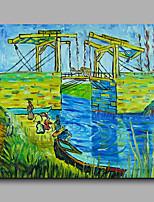 prêt à accrocher étiré toile de peinture à l'huile peints à la main abstraite van gogh repro pont de Langlois à Arles un panneau