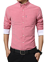Men in the fall and winter of pure color shirt male hair thickening leisure big yards long sleeve shirts