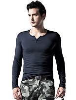 Men's Long Sleeve Slim T-Shirt , Cotton / Spandex Casual / Sport / Plus Sizes Pure