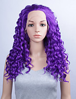 Fashion Synthetic Wigs Lace Front Wigs 24inch Curly Purple Heat Resistant Hair Wigs Women