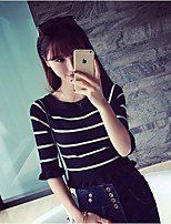 Women's Striped Pink / White / Black Pullover , Bodycon / Casual / Cute / Work ½ Length Sleeve