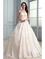 A-line Wedding Dress - White Court Train Strapless Satin