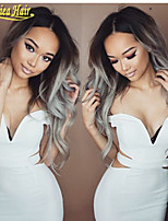 Ombre Grey Body Wave Full Lace Human Hair Wigs/Lace Front Wig Glueless Brazilian Virgin Human Hair No Tangle No Shedding