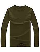 Men's Sleeve Length Tops Type  , Fashion Round Collar Sleeve Cotton Blend Casual Pure