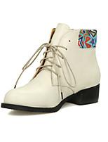 Zapatos de mujer - Tacón Bajo - Puntiagudos - Botas - Casual - Semicuero - Negro / Beige
