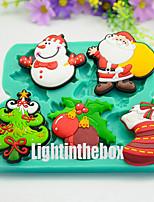 5 in 1 Christmas Tree Snowman Santa Socks Silicone Chocolate Pudding Sugar Ice Cake Mold