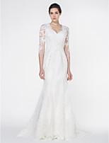Lan Ting - Trumpet/Mermaid Wedding Dress - Ivory Court Train V-neck Tulle