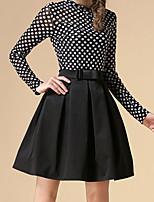 Women's Solid Black Skirts , Vintage Above Knee