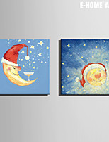 E-HOME® Stretched Canvas Art The Moon And The Sun Christmas Series Decoration Painting  Set of 2