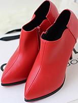 Chaussures Femme - Décontracté - Noir / Rouge - Gros Talon - Bout Pointu - Bottes - Similicuir