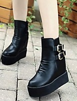 Women's Shoes Wedge Heel Creepers Round Toe Ankle Boots with Buckle Casual Black
