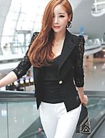 Women's Patchwork / Lace White / Black Blazer , Work Shirt Collar Long Sleeve
