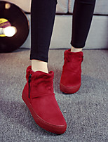 Women's Shoes Fleece Flat Snow Fashion Boots / Bootie / Comfort Boots Outdoor / Casual Black / Dark Blue / Red / Khaki
