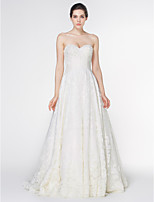 Lan Ting - A-line Wedding Dress - Ivory Court Train Strapless Lace