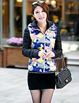 Women's Color Block Blue / Pink Down Coat , Casual Hooded Long Sleeve