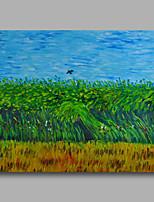 prêt à accrocher étiré peinture à l'huile peinte à la main toile de Van Gogh Champ de blé avec corbeaux repro un panneau