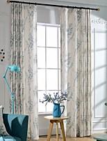(dois painéis) floral poliéster impressão de algodão mistura de energia moderna economia de cortina (pura não incluídas)