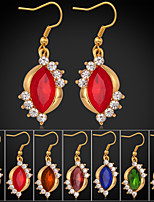 Instyle 18K Chunky Gold Plated Rhinestone Crystal Earrings Ruby Stone High Quality