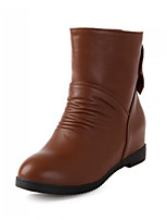 Women's Shoes Low Heel Round Toe / Closed Toe Boots Office & Career / Dress / Casual Black / Brown / White