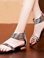 Women's Shoes Leather Chunky Heel Peep Toe / Comfort Sandals Office & Career / Party & Evening / Casual Silver / Gold