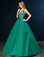 Formal Evening Dress - Clover A-line V-neck Sweep/Brush Train Satin