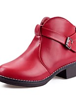 Women's Shoes  Low Heel Round Toe / Closed Toe Boots Office & Career / Dress / Casual Black / Red