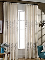 (Two Panels)Beige Trees Printed Linen Polyester Blend  Energy Saving Curtain