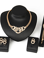 Women's Alloy Golden Crystal Neclace & Earrings&Bracelet Jewelry Set for Wedding Party