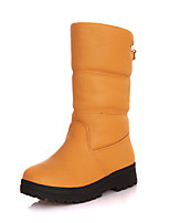 Women's Shoes Leatherette Flat Heel Snow Boots / Round Toe Boots Outdoor /  CasualBlack / Yellow / White / Gray / Orange