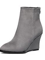 Chaussures Femme - Décontracté - Noir / Gris - Talon Compensé - Bout Arrondi - Bottes - Similicuir