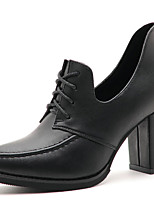 Women's Shoes Synthetic Chunky Heel Heels / Comfort Heels Office & Career / Party & Evening / Casual Black / Red